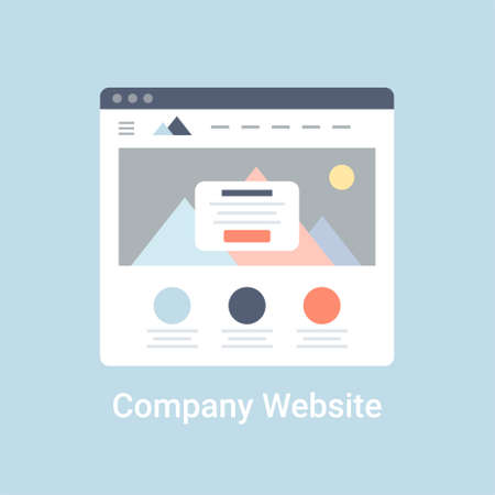 website window: Company website wireframe interface template. Flat vector illustration on blue background