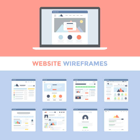 web browser: Vector set of flat website wireframes on laptop screen