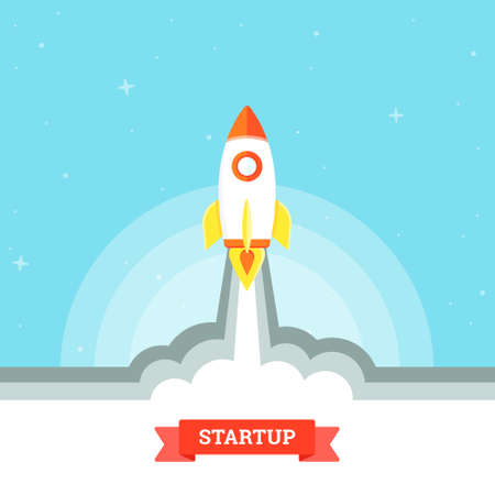 Startup project concept, rocket launch. Business flat design vector illustration