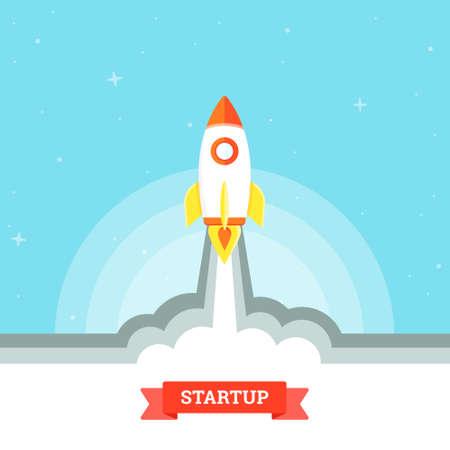 brandweer cartoon: Opstarten project concept, raketlancering. Zakelijke platte ontwerp vector illustratie Stockfoto