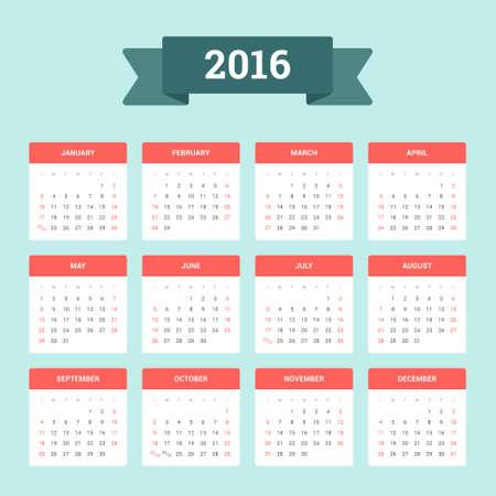 kalendarz: Kalendarz 2016. Tydzień rozpoczyna się od niedzieli. Wektor płaskim szablon, gotowe do wydrukowania Zdjęcie Seryjne
