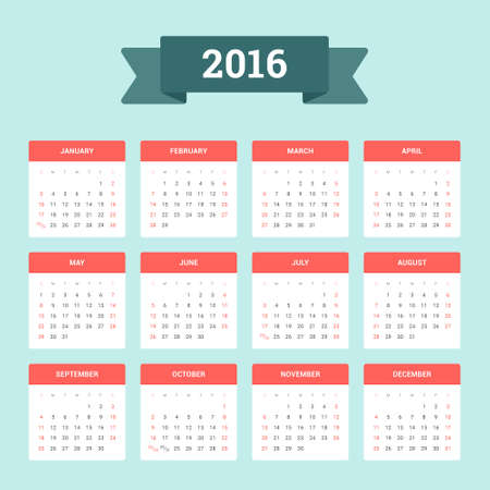 Calendar 2016. Week starts from Sunday. Vector flat design template, ready to print