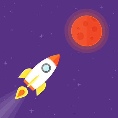 mision: Misi�n a Marte. Rocket volar a planeta Vectores