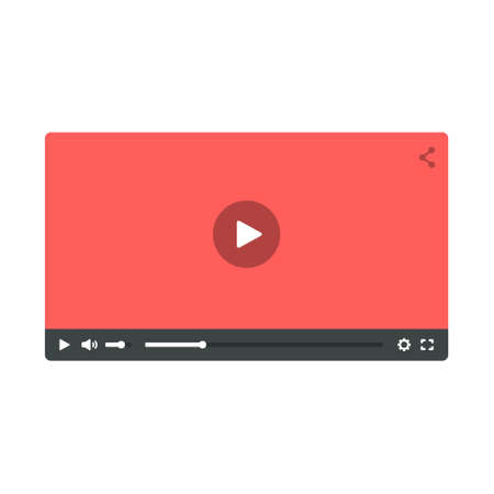 windows media video: Video player. Flat template for web and mobile apps