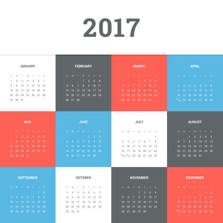 calendar day: Calendar 2017. Simple flat design vector template