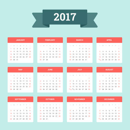 Calendar 2017. Week starts from Sunday. Vector flat design template, ready to print