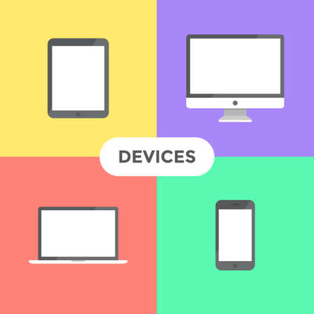Flat modern electronic devices on colored background Imagens