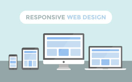 web: Responsive web design concept, website page on screen of desktop computer, laptop, tablet pc and smartphone
