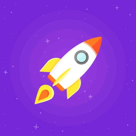 brandweer cartoon: Raket vliegen in de ruimte. Platte ontwerp illustratie