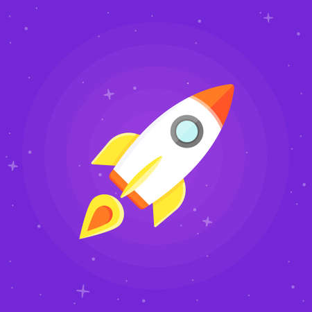 rocketship: Rocket flying in outer space. Flat design illustration