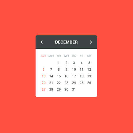 widget: Flat calendar widget for web and mobile apps