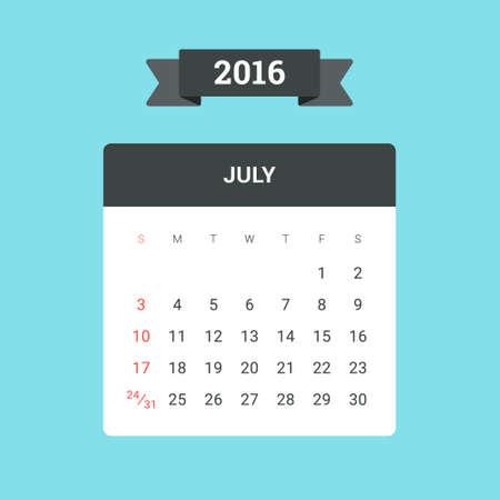 calendario julio: Calendario julio de 2016. Vector plantilla de diseño plano, listo para imprimir
