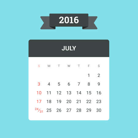 holyday: July Calendar 2016. Vector flat design template, ready to print