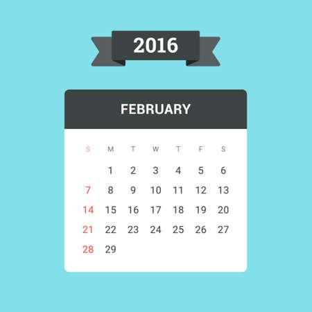 February Calendar 2016. Vector flat design template, ready to print
