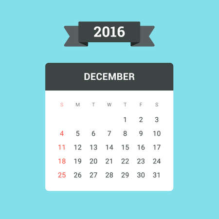 year january: December Calendar 2016. Vector flat design template, ready to print