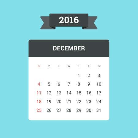 january: December Calendar 2016. Vector flat design template, ready to print