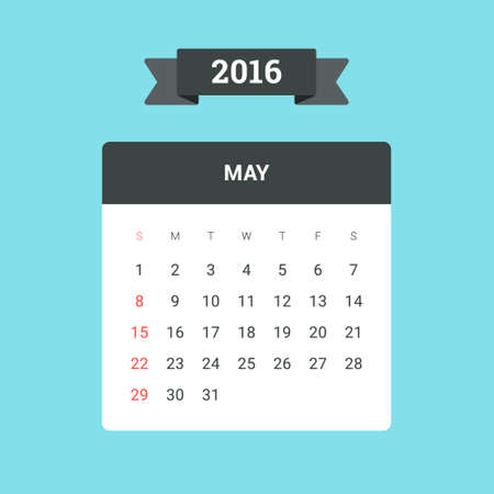 holyday: May Calendar 2016. Vector flat design template, ready to print Illustration