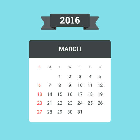 March Calendar 2016. Vector flat design template, ready to print Illustration
