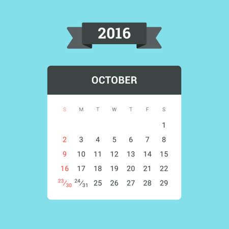 calendario octubre: Calendario octubre 2016. Vector plantilla de dise�o plano, listo para imprimir