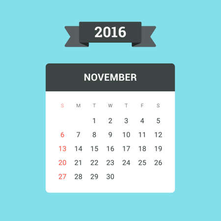 november calendar: November Calendar 2016. Vector flat design template, ready to print Illustration