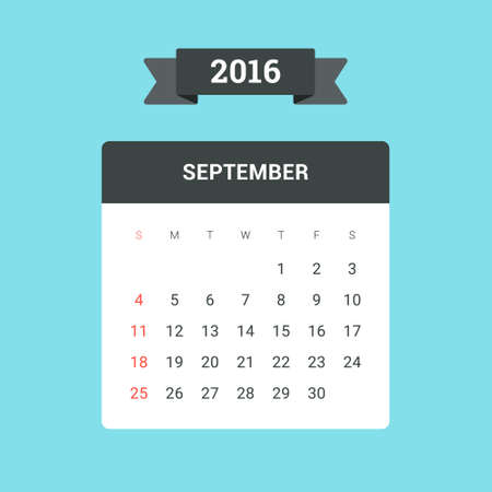 september calendar: September Calendar 2016. Vector flat design template, ready to print