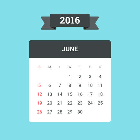 June Calendar 2016. Vector flat design template, ready to print