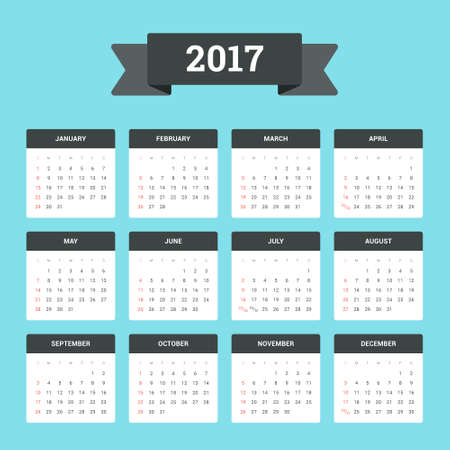 Flat Calendar 2017. Week starts from Sunday