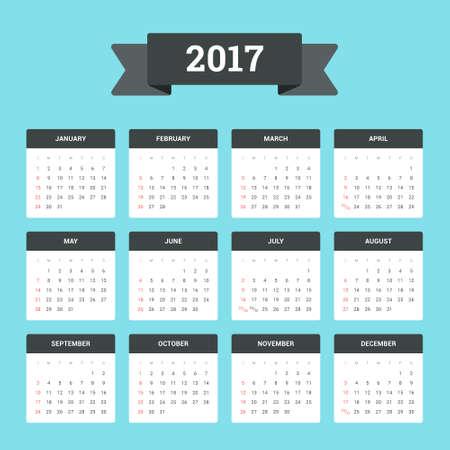 kalendarium: Płaskie kalendarz 2017. Tydzień rozpoczyna się od niedzieli