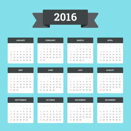 Flat Calendar 2016. Week starts from Sunday