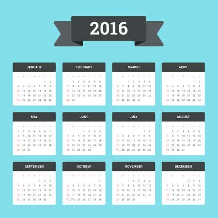 Flat Calendar 2016. Week starts from Sunday
