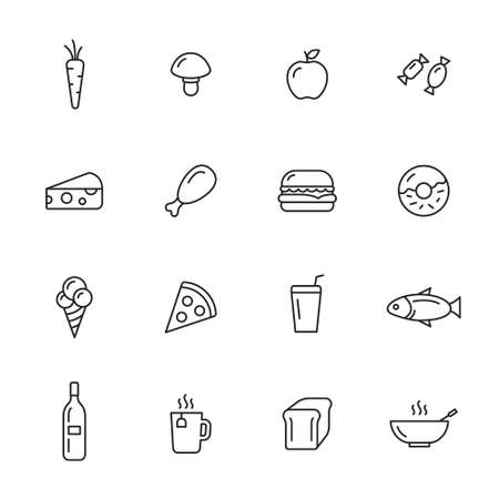 meat soup: Food thin line icons Illustration
