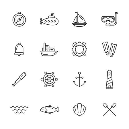 water icon: Nautical, marine and sea thin line icons