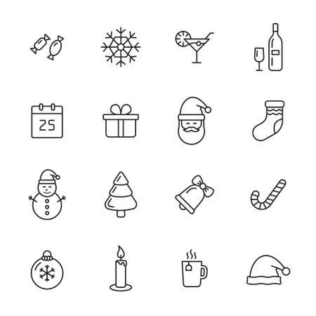 Christmas thin line icons Illustration