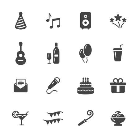 cream filled: Party icons Illustration