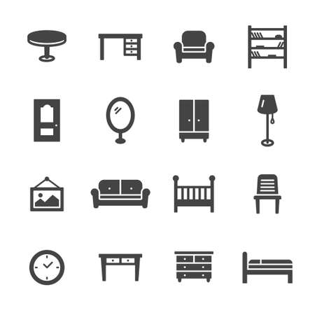 office icon: Home furniture icons