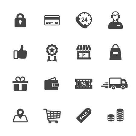 comprando: Compras y comercio electr�nico iconos Vectores