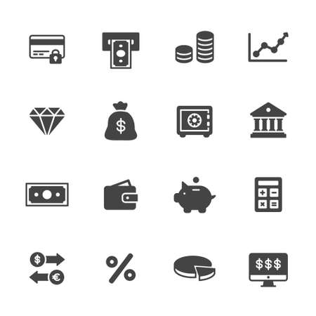 bank icon: Bank, money and finance icons