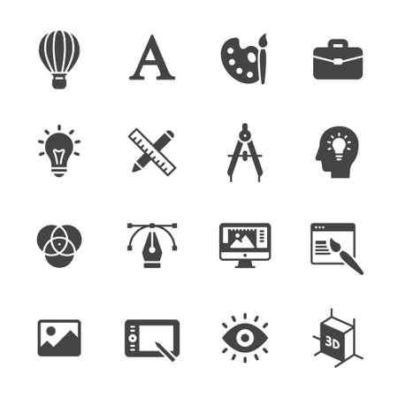 Arte, desenho e web e ícones de design gráfico Ilustração