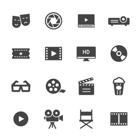 Movie, film and cinema icons Stock Illustratie