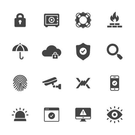 escudo: La protecci�n, la seguridad y los iconos de seguridad Vectores