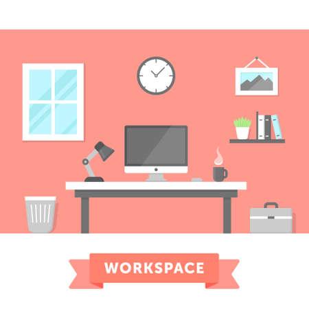 workstation: Modern workspace flat illustration. Freelancer home workstation