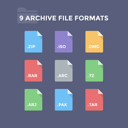 Archive file formats. Compressed folder file type icons