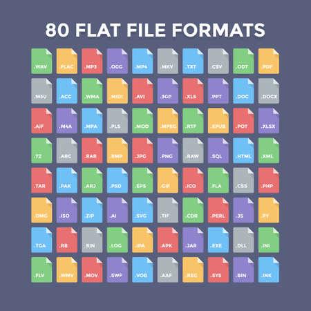 フラット ファイル形式のアイコン。オーディオ、ビデオ、画像、システム、アーカイブ、コード、ドキュメント ファイルの種類