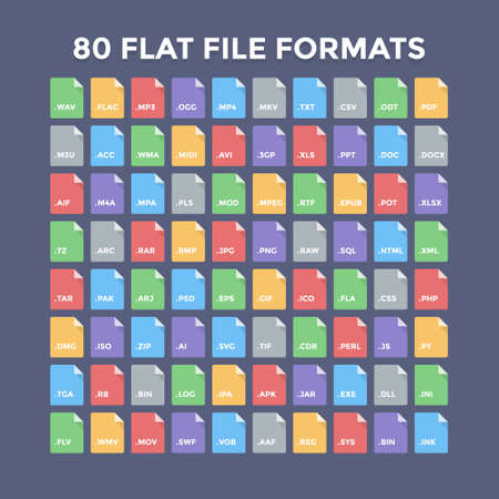 formats: Flat file format icons. Audio, video, image, system, archive, code and document file types