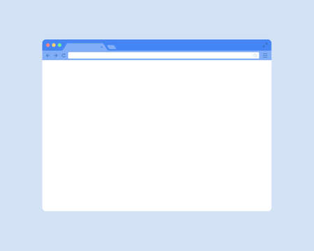 Flat web browser window mockup. Blank vector browser window