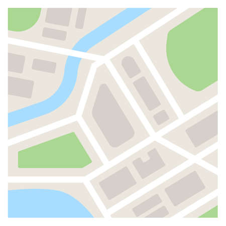 Vector map template illustration. Simple flat city map Çizim