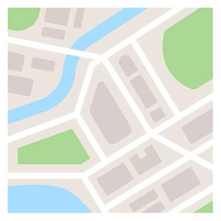 Vector plantilla de ilustración de mapa. Simple mapa plano de la ciudad