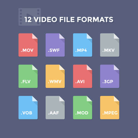 Video file formats. Movie and footage file type icons Illustration