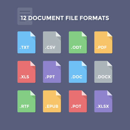 formats: Document file formats. Office program file type icons