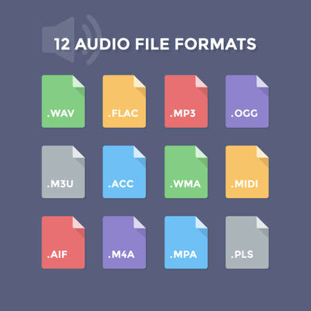 formats: Audio file formats. Music file type icons
